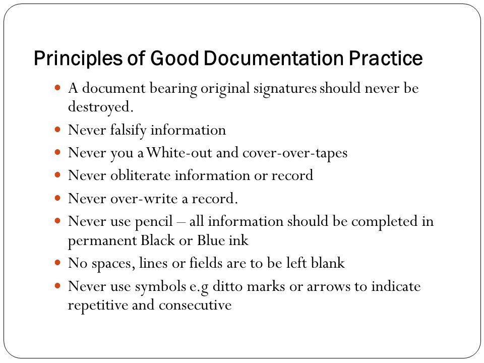 Principles of Good Documentation Practice