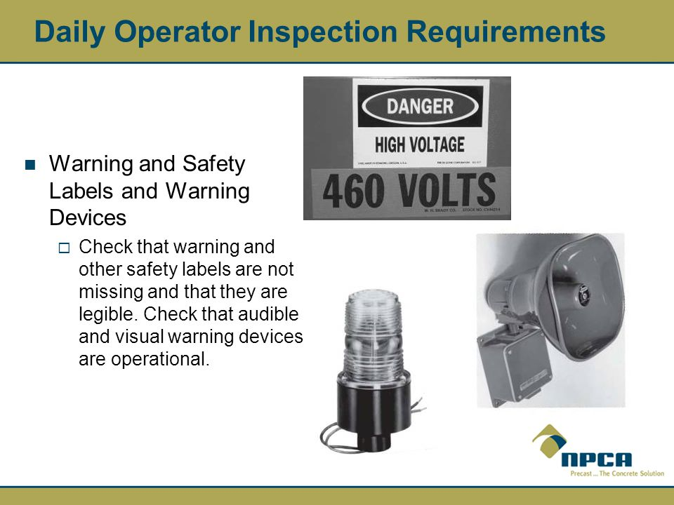 Daily Operator Inspection Requirements