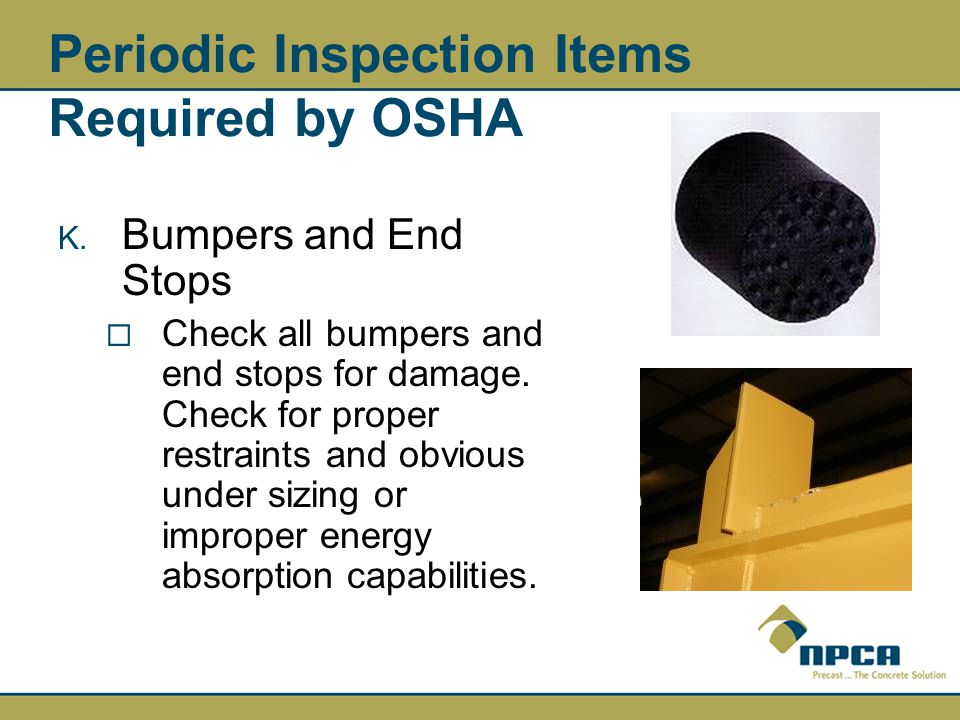 Periodic Inspection Items Required by OSHA