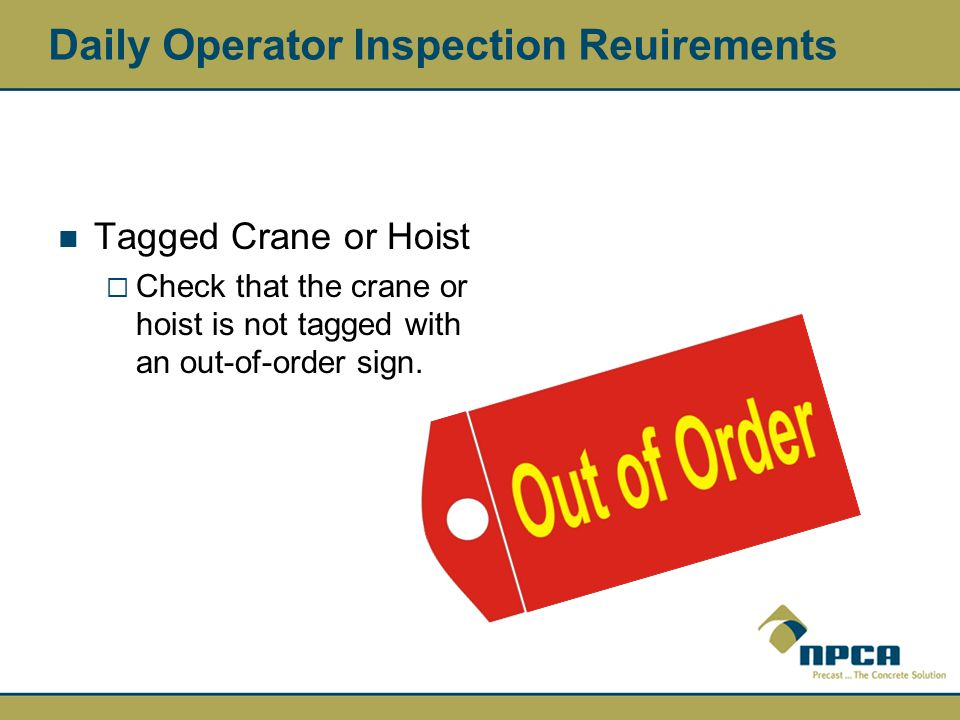 Daily Operator Inspection Reuirements