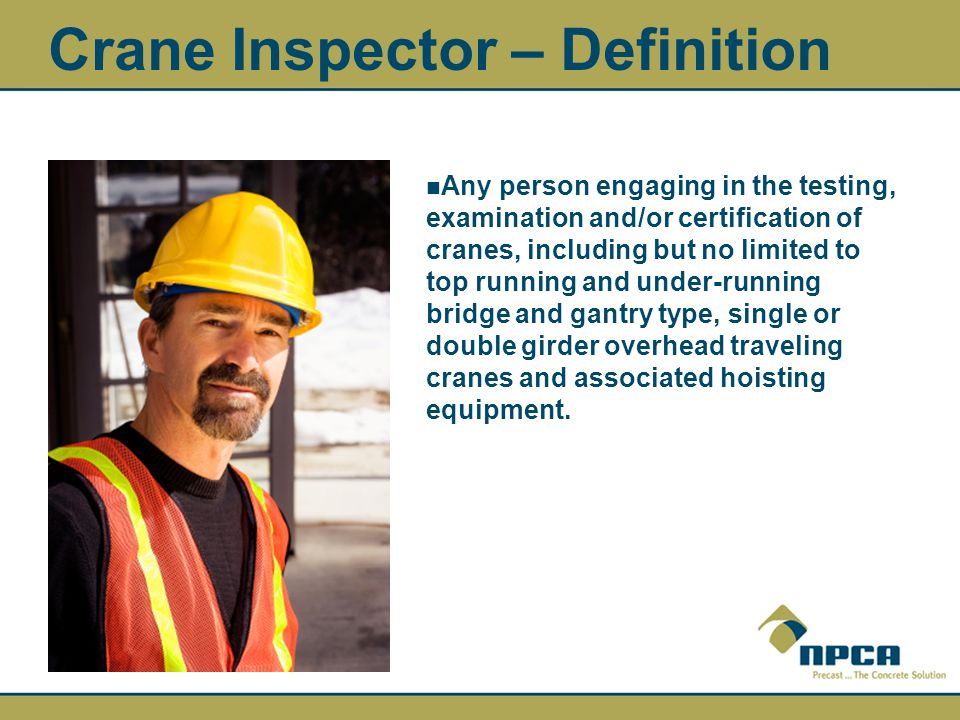 Crane Inspector – Definition