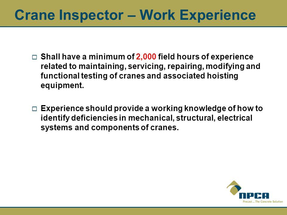 Crane Inspector – Work Experience