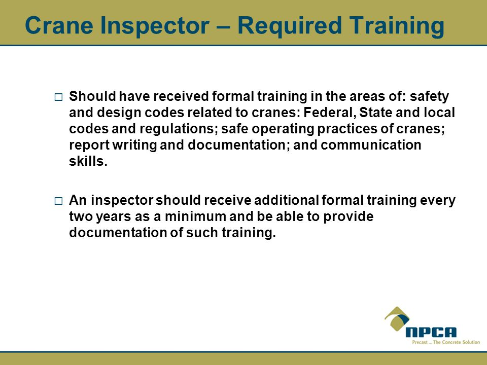Crane Inspector – Required Training