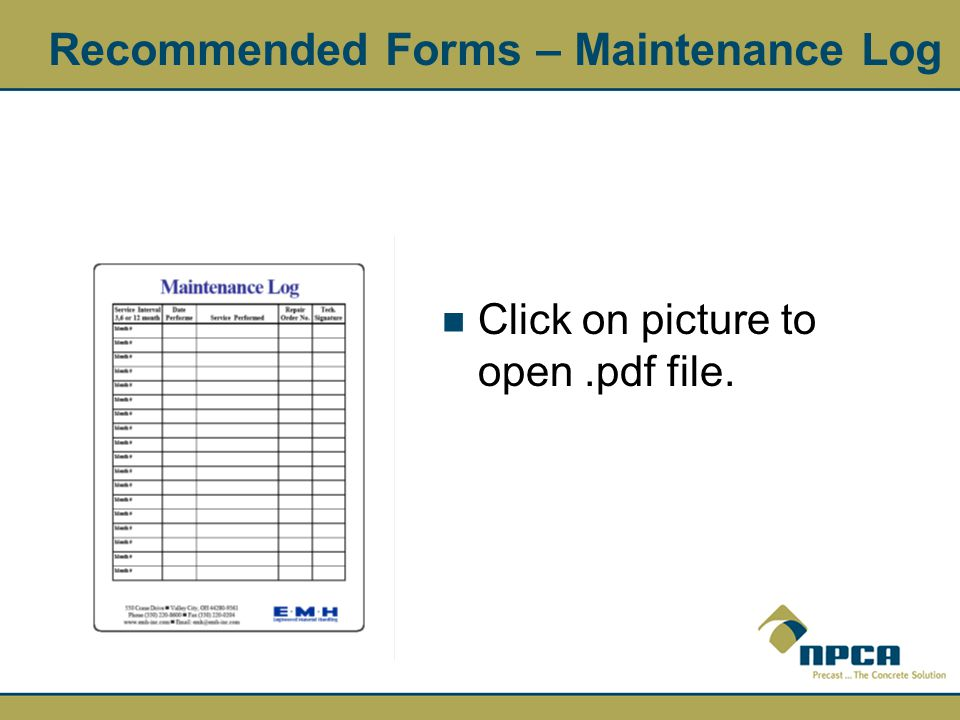Recommended Forms – Maintenance Log