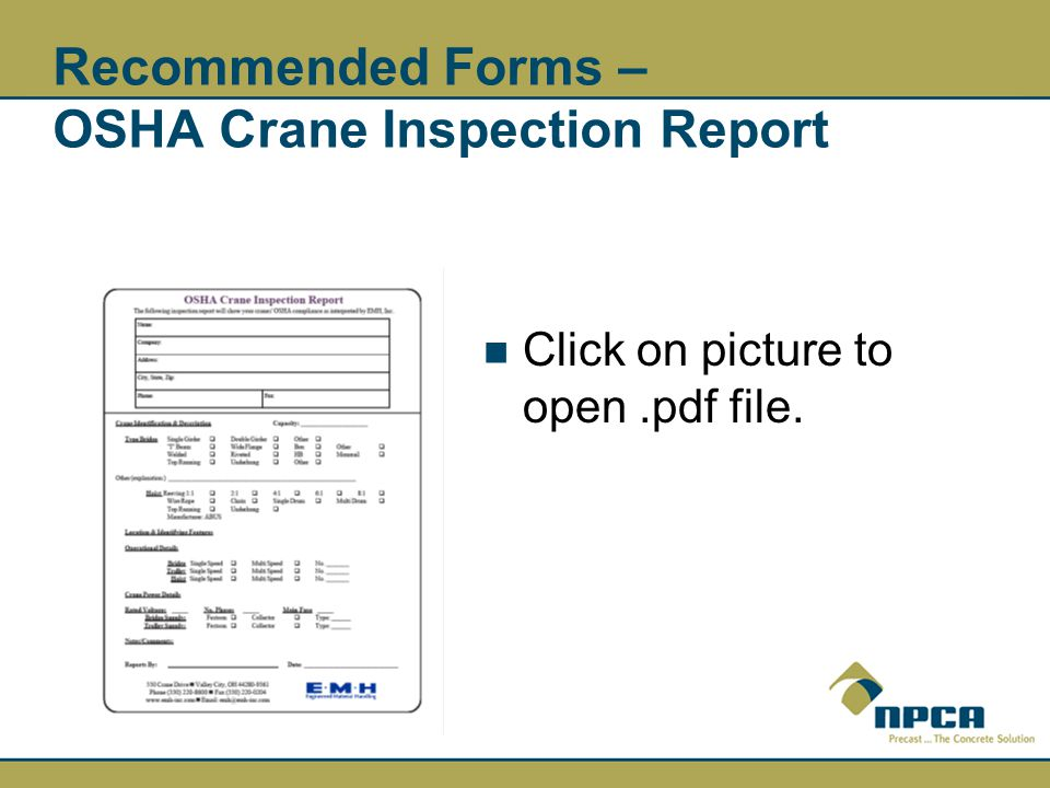 Recommended Forms – OSHA Crane Inspection Report