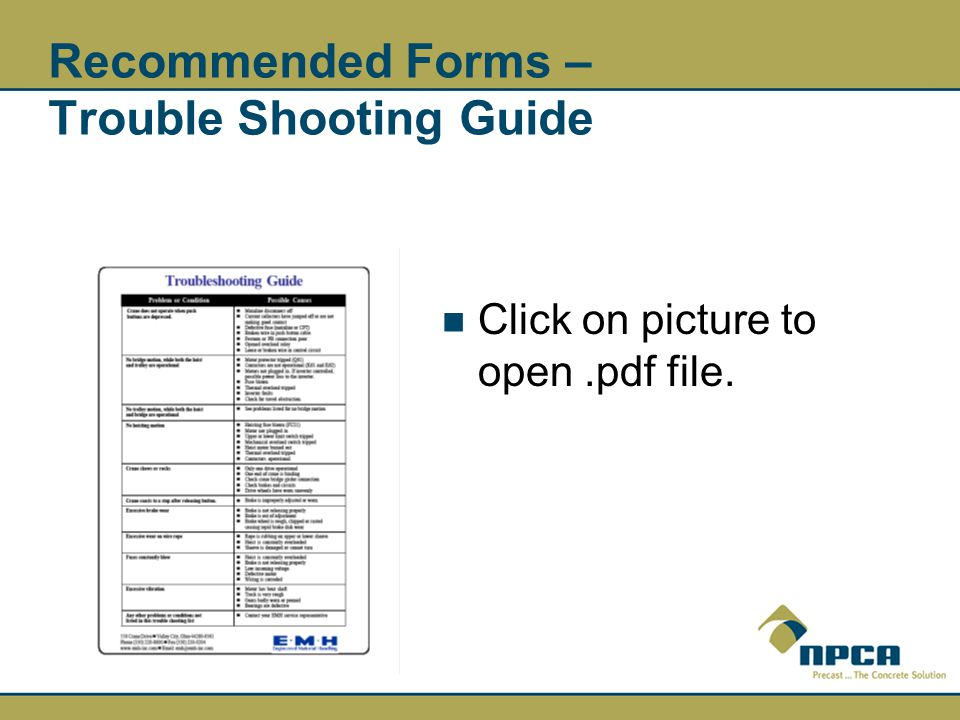 Recommended Forms – Trouble Shooting Guide