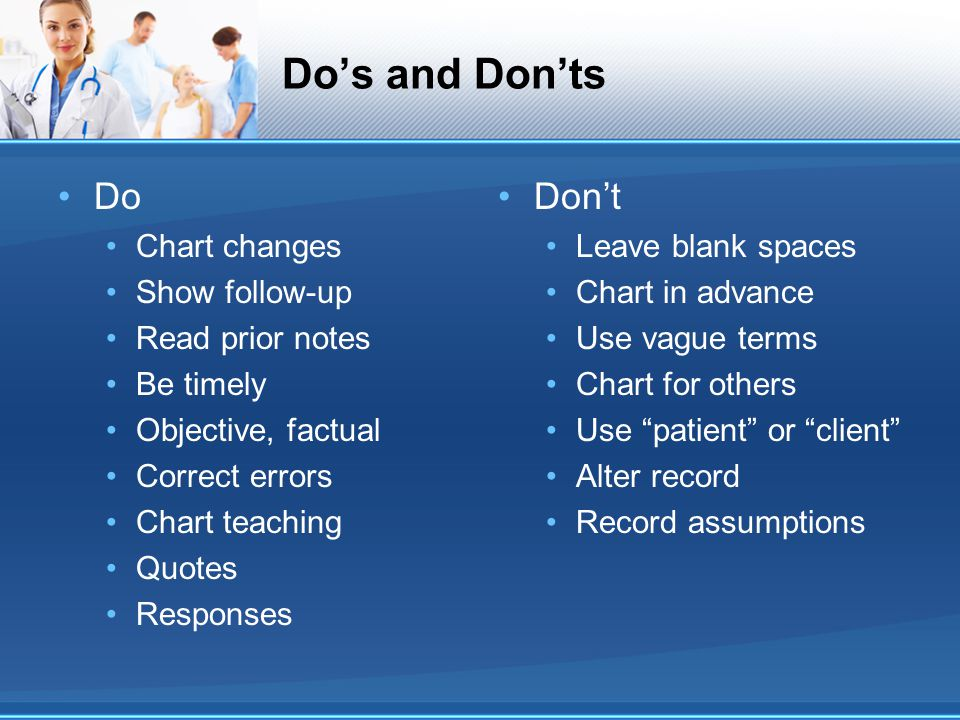 Do's and Don'ts Do Don't Chart changes Show follow-up Read prior notes