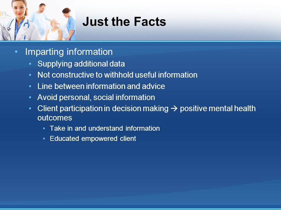 Just the Facts Imparting information Supplying additional data