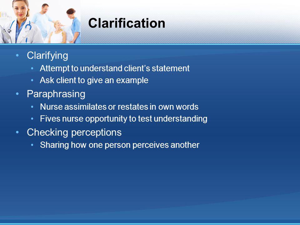 Clarification Clarifying Paraphrasing Checking perceptions
