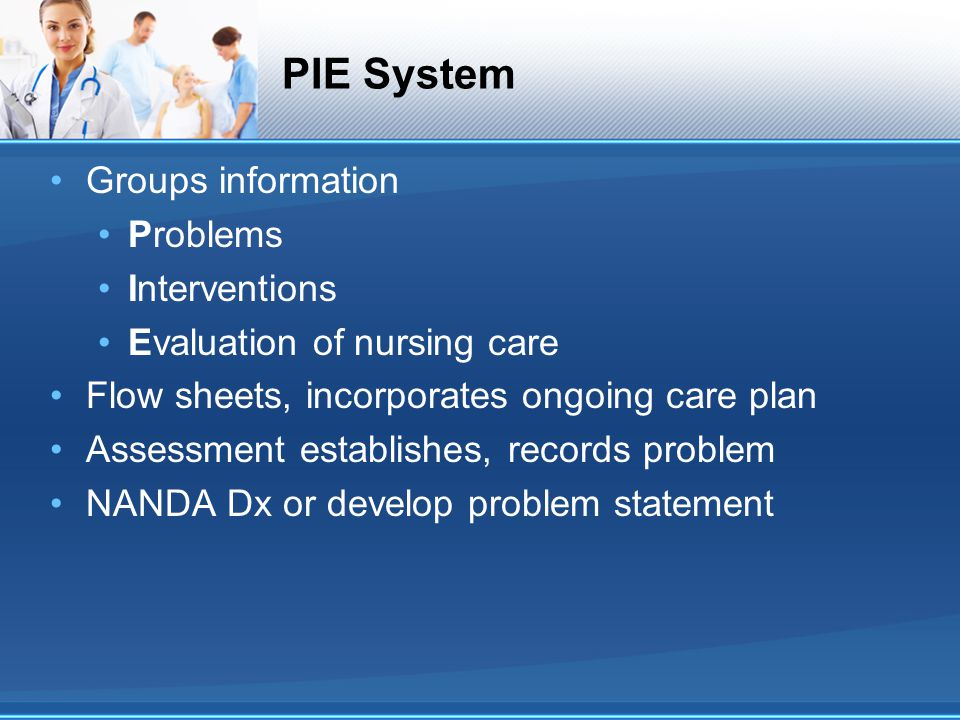 PIE System Groups information Problems Interventions