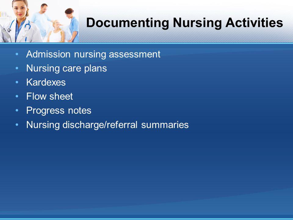 Documenting Nursing Activities