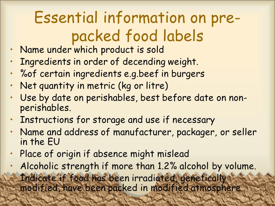 Essential information on pre-packed food labels