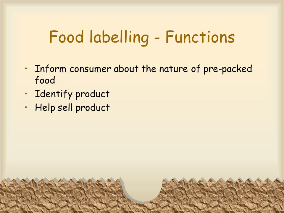 Food labelling - Functions