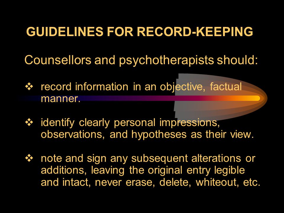 Guidelines for Record-Keeping