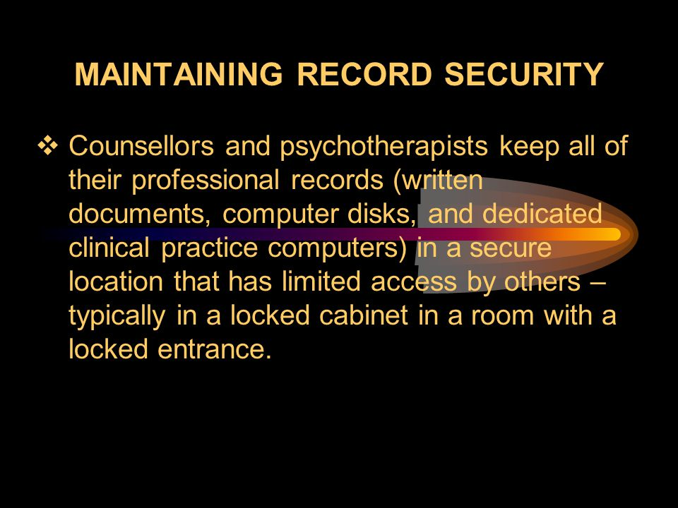 Maintaining Record Security