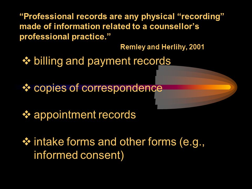 billing and payment records copies of correspondence