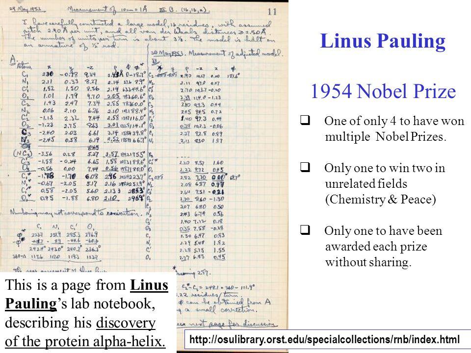 Linus Pauling 1954 Nobel Prize