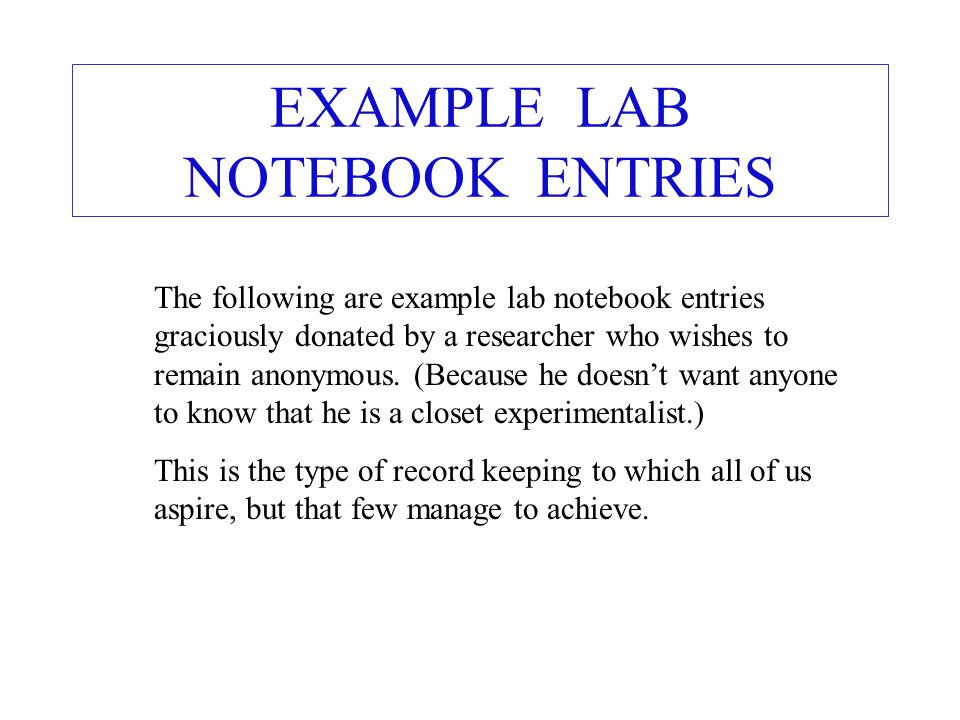 EXAMPLE LAB NOTEBOOK ENTRIES