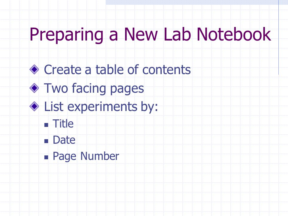 Preparing a New Lab Notebook