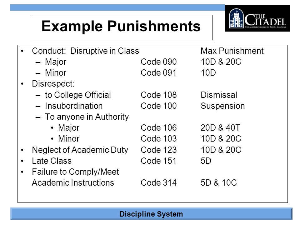 Example Punishments Conduct: Disruptive in Class Max Punishment