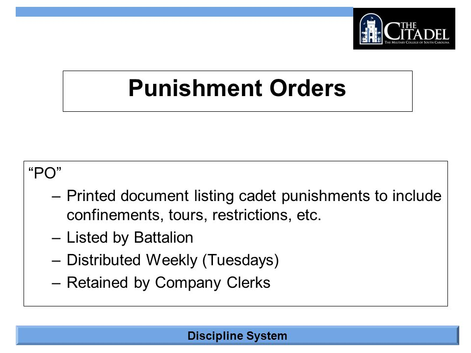Punishment Orders PO