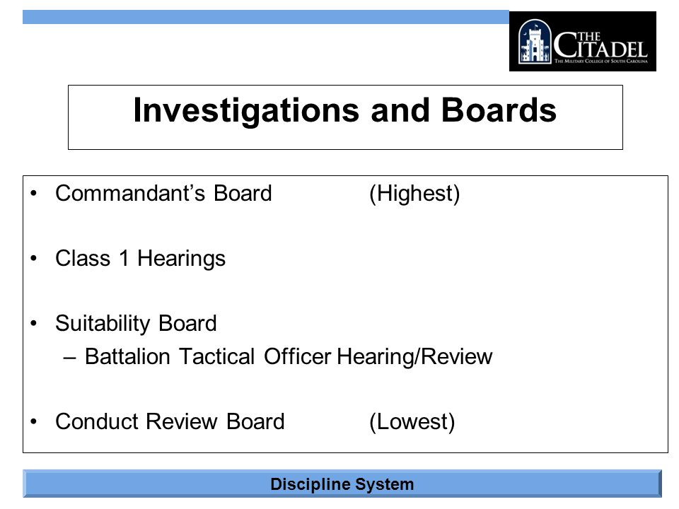 Investigations and Boards