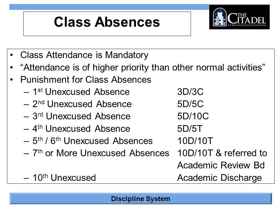 Class Absences Class Attendance is Mandatory