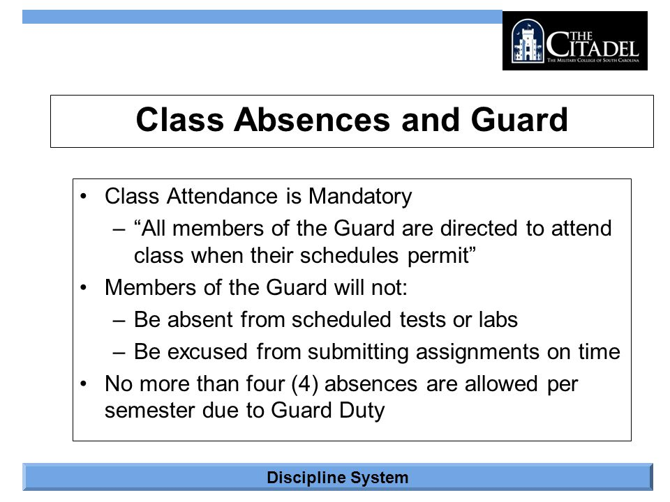 Class Absences and Guard