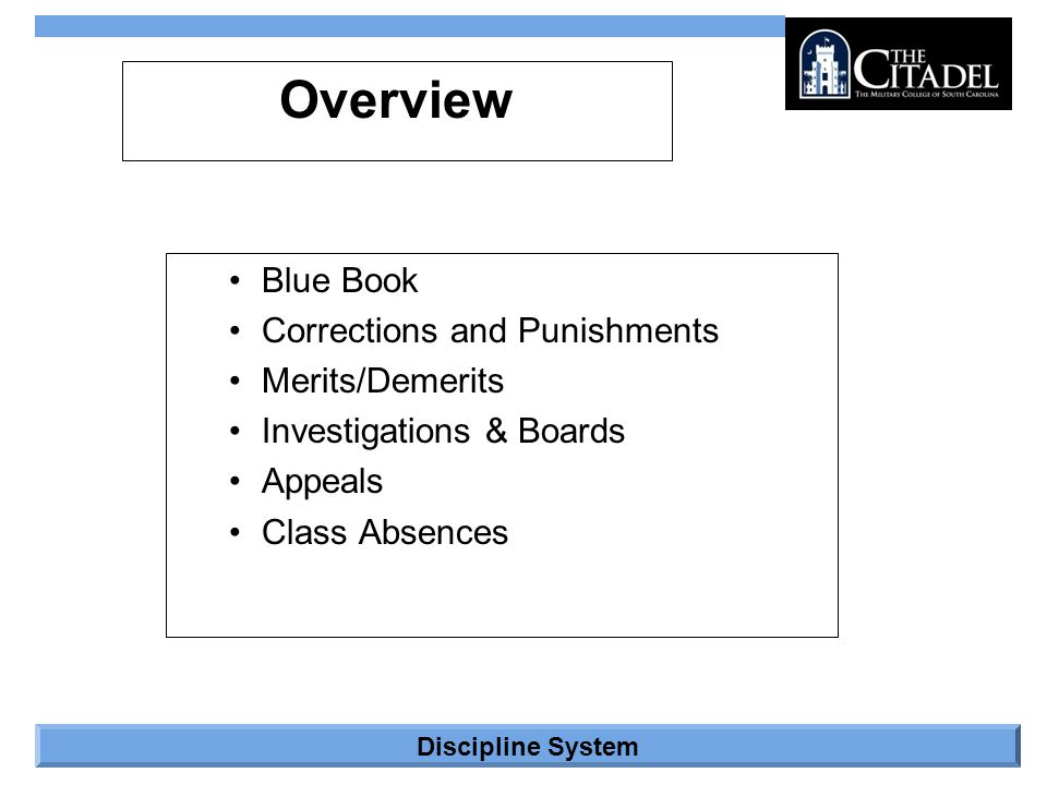 Overview Blue Book Corrections and Punishments Merits/Demerits