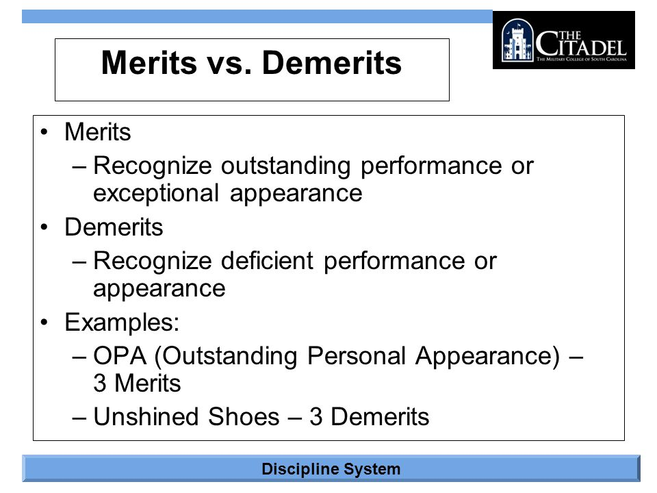 Merits vs. Demerits Merits