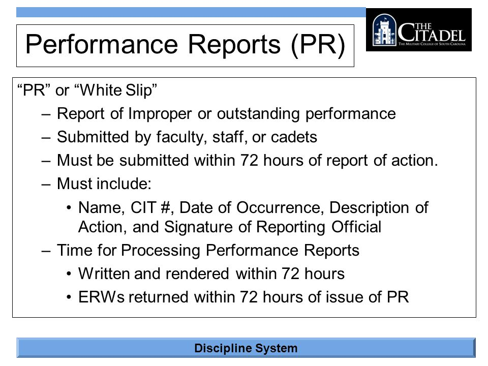 Performance Reports (PR)