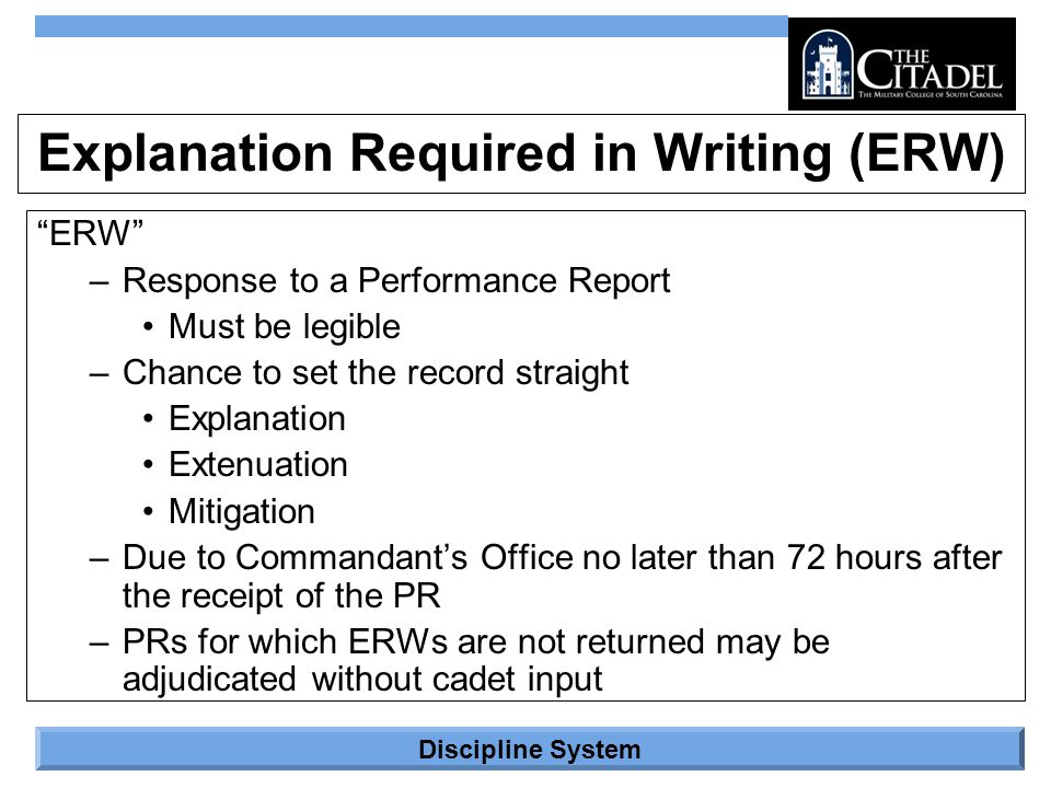 Explanation Required in Writing (ERW)