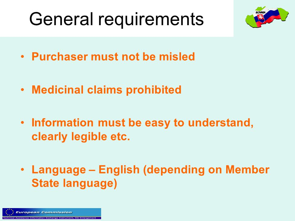 General requirements Purchaser must not be misled