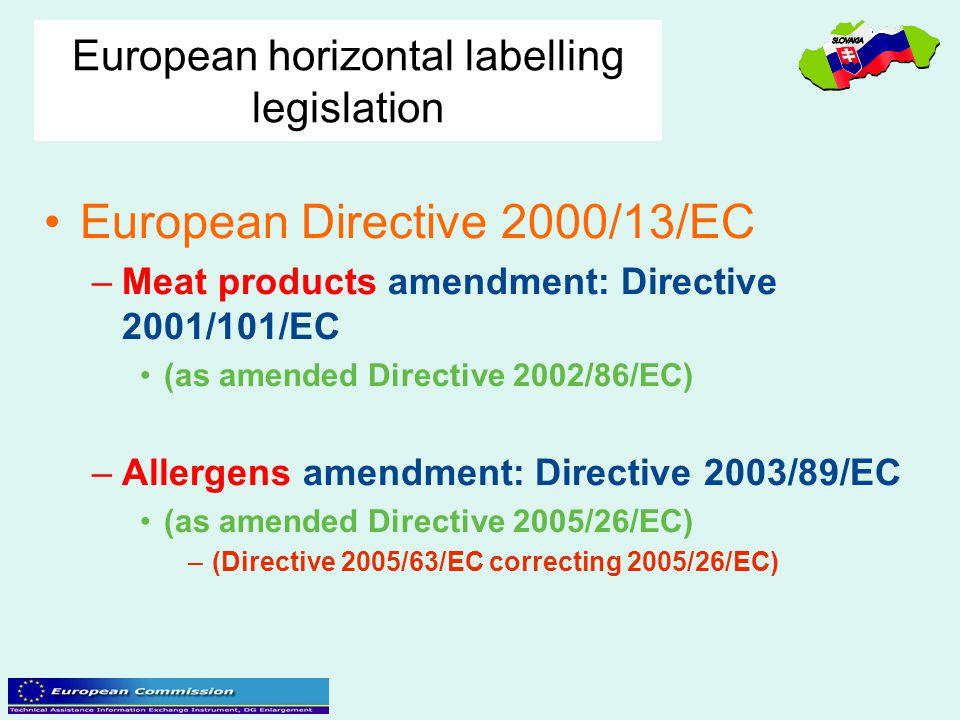 European horizontal labelling legislation