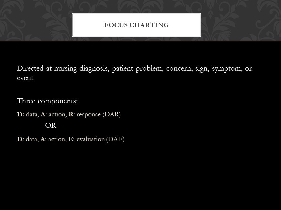 Focus Charting Directed at nursing diagnosis, patient problem, concern, sign, symptom, or event. Three components: