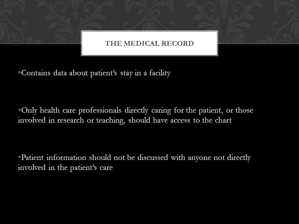 Contains data about patient's stay in a facility