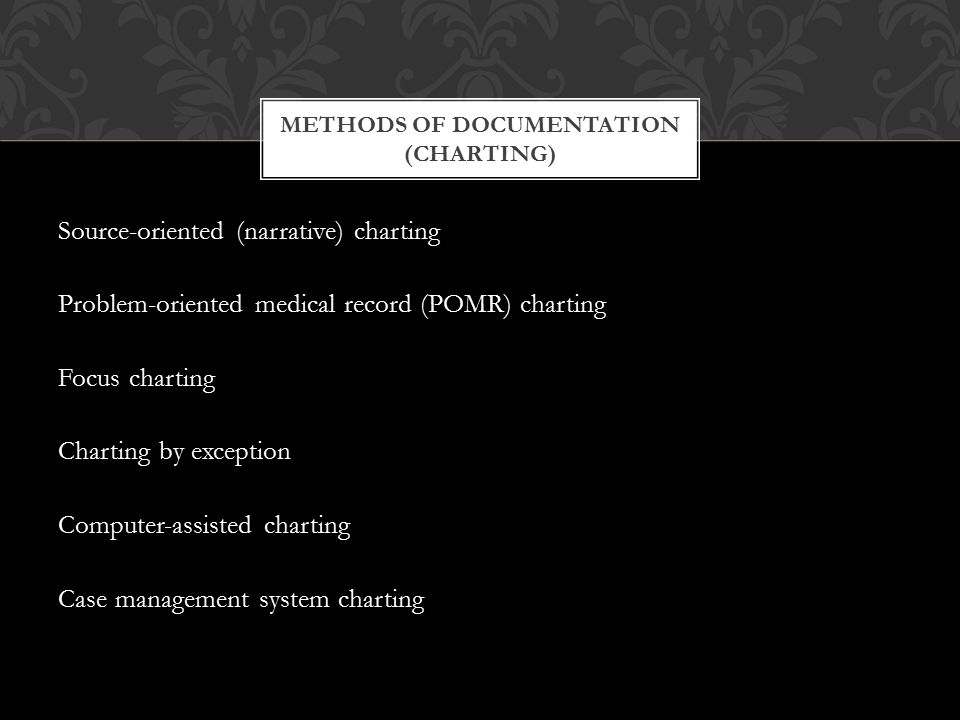 Methods of Documentation (Charting)