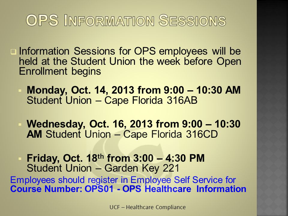 OPS Information Sessions