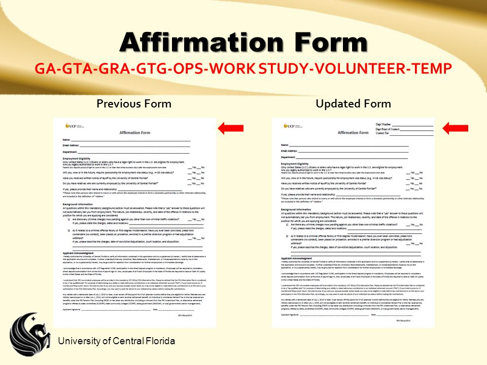 Affirmation Form GA-GTA-GRA-GTG-OPS-Work study-Volunteer-Temp