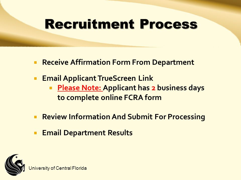Recruitment Process Receive Affirmation Form From Department