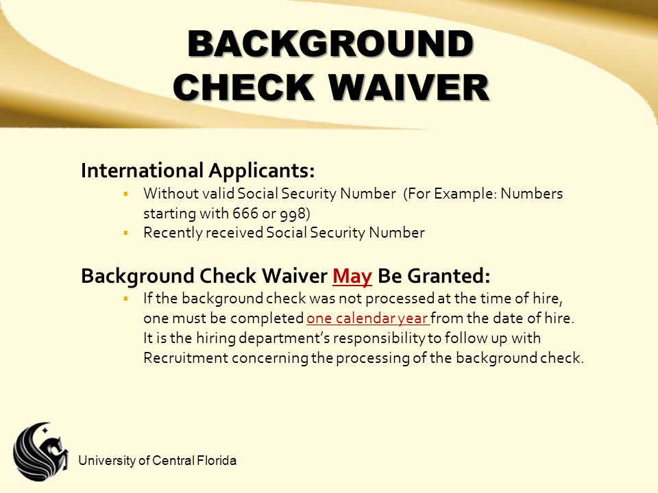 BACKGROUND CHECK WAIVER