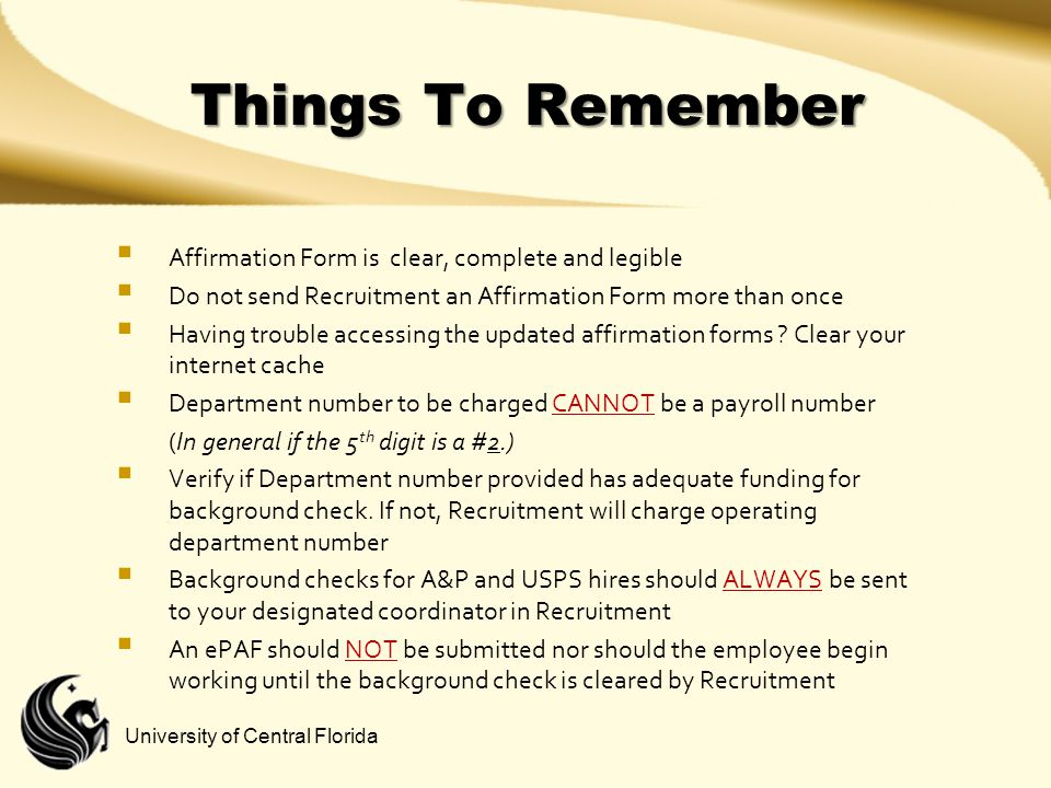 Things To Remember Affirmation Form is clear, complete and legible