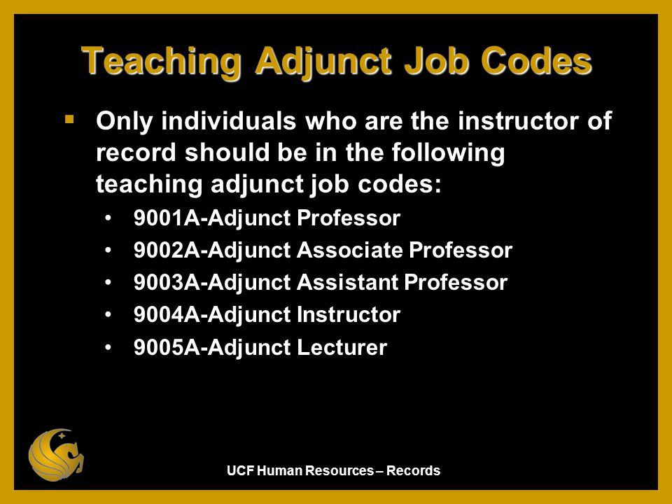 Teaching Adjunct Job Codes