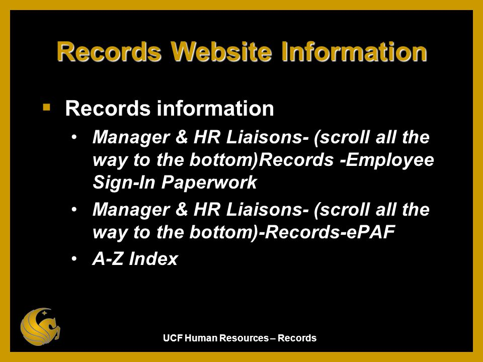 Records Website Information