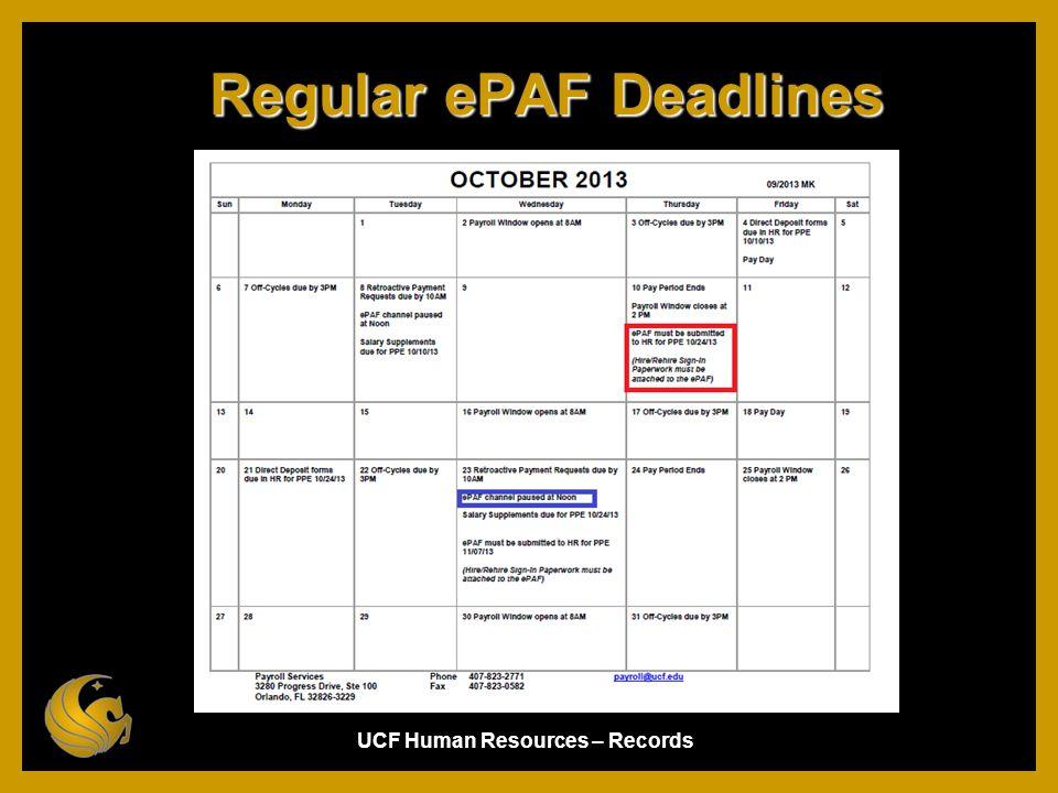 Regular ePAF Deadlines