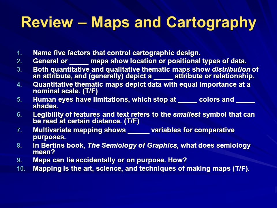Review – Maps and Cartography