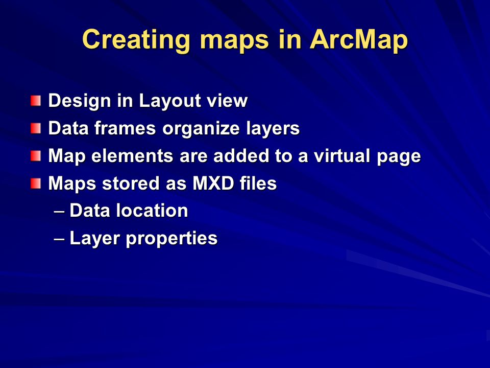 Creating maps in ArcMap