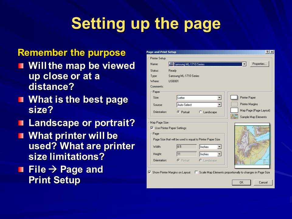 Setting up the page Remember the purpose