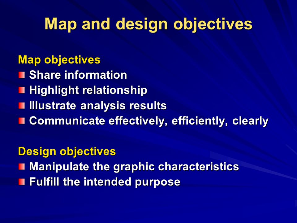 Map and design objectives