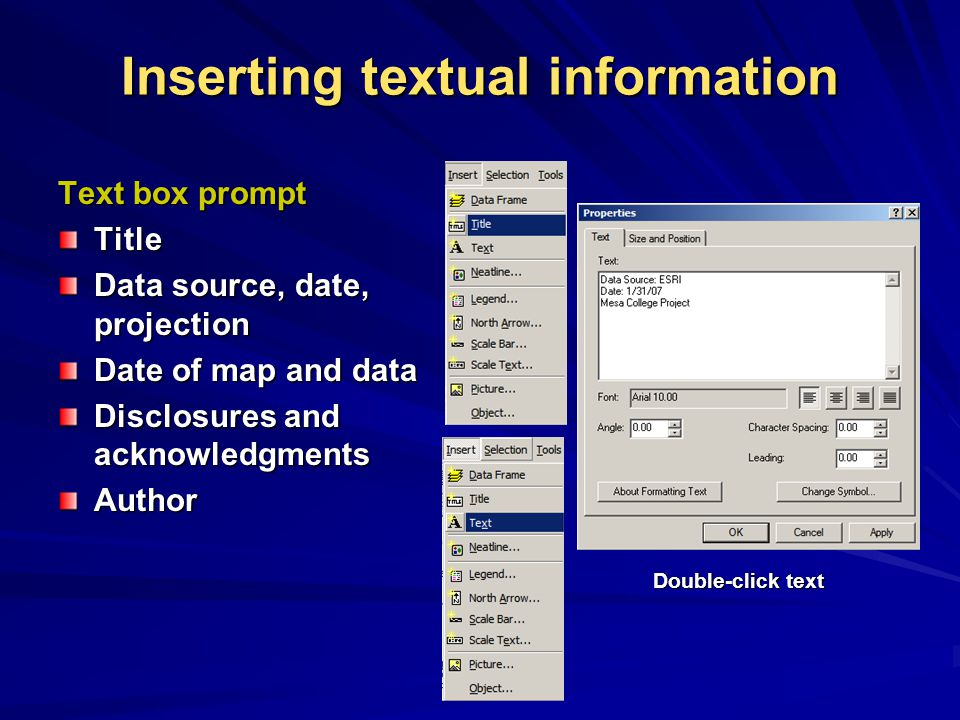Inserting textual information